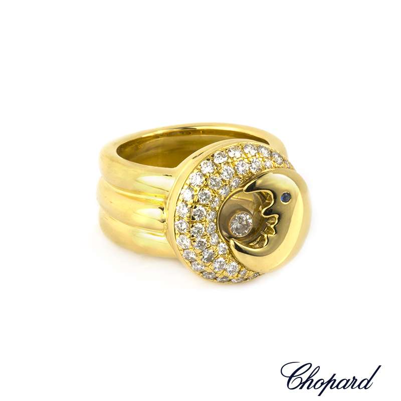 Chopard  18k Yellow Gold Happy Diamonds Moon Ring 82/2288/3-20